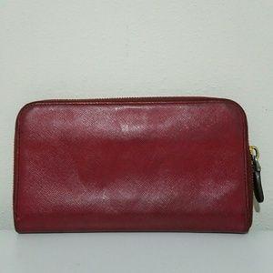 Prada Bags - Prada Red Saffiano Leather Zip Around Clutch Walle